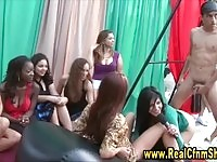 Naughty cfnm ladies in handjob