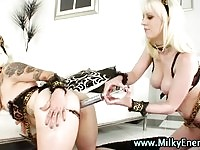 Two naughty lesbian kittens giving each others milk enemas