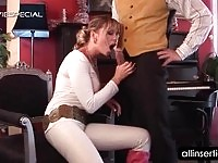 Horny piano teacher blows her stud's meat pole