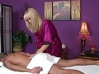 Blonde masseuse in action