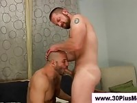 Beared guys in oral love