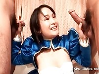 Horny oriental babe jerking and sucking to dicks