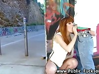 Sexy tall beauty fucked in public