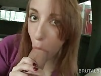 Hot amateur sucking and stroking dick in the bang bus