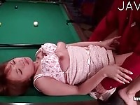 Cute japanese chick fucked on the pool table