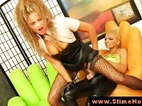 Two incredible glam lesbians having sex with a strapon