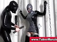 Sexy babe in latex outfit gets her pussy toyed by her master