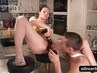 Wild wife sucking and fucked in the kitchen