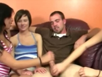 Three amateur cougars sharing a dude's boner with their hands