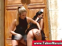 Sexy brunette subject spanked by her stunning blonde mistress