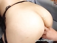Slutty japanese doll sucking on dick and getting pumped from behind