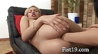 Exquisite blonde babe getting her tight ass fisted so deep