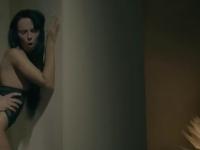 Skinny brunette fucked by a wall