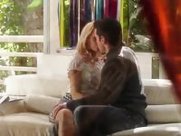Charming blonde diva making sinful love with her man