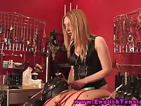 Naughty mistress pissing on her slave