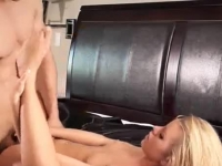 Charming blonde diva giving head and getting pounded