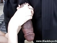 Sexy white chick sucking on a monster cock