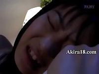 Horny asian brunette fingered and fucked without mercy