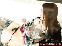 Classy rich babe gets all messy