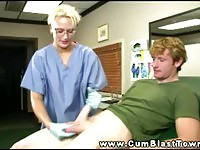 Sexy blonde nurse wearing gloves has patient cock wanked