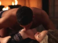 Busty milf fucked by a fireplace