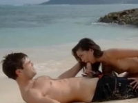 Passionate brunette doll sucking dick and making love on the beach