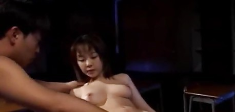 Cute asian schoolgirl fingered and fucked in class