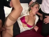Amazing glam blonde fucked in both her naughty holes