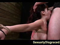 Bound oriental face fucked in basement