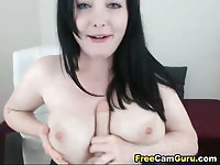 Splendid brunette amateur toying her ass on cam