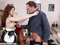 Rich couple fucking the maid