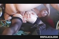 Two horny Asian sluts fucked in their tight asses