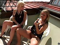 Dirty blonde lesbian gets her twat toyed and fisted