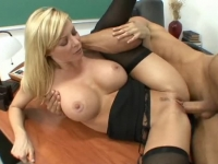 Perfect blonde teacher fucked in class