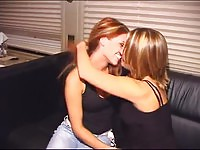 Hot amateur lesbos having fun on the bed