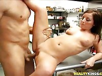 Enticing brunette amateur fucked on the table