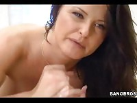 Enticing brunette MILF gives head after a wild ride on the floor