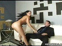 Naughty maid fucked on the sofa by her boss