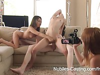 Two gorgeous babes sharing a big hard cock today