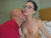 Yummy nerd sucking on hard cock
