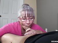Horny mature sucking a young hard cock