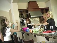 Naughty housewives in group toying and fucking