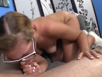 Sweet blonde petite buffing knob before getting pounded