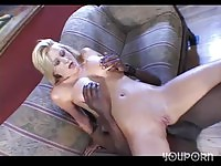 Sweet sexy blonde takes black cock in the ass
