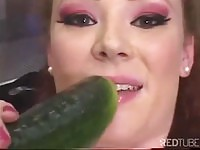 Horny Audrey Hollander takes corn and cucumber in her ass