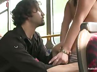 Brunette babe punished and fucked in a public bus