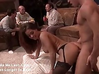 Superb babe in stockings fucked in all her holes