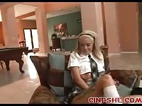 Magnetic blonde in schoolgirl uniform fucked passionately