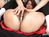 Sexy Japanese slut fucked in her hairy snatch
