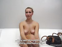 Lovely Czech blonde strips during her audition